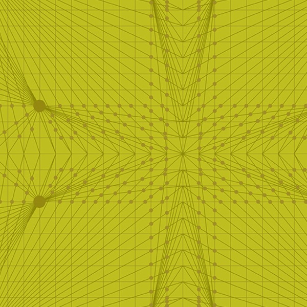 $27.00/m - Quantum by Giucy Giuce for Andover Fabrics - A8957G - Interconnection in Acteone/Green,