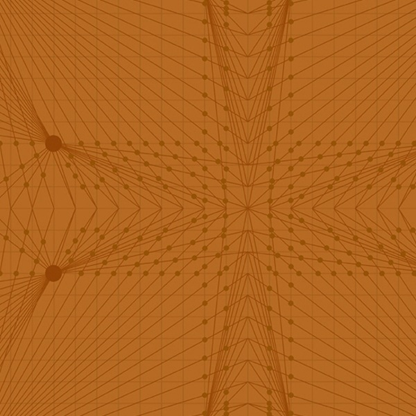 $27.00/m - Quantum by Giucy Giuce for Andover Fabrics - A8957O - Interconnection in Rust/Orange