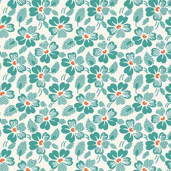 $28.00/m - Adeline by Kathy Hall for Andover Fabrics - A8968T - Waffle Flowers in Teal