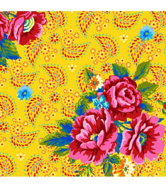 $29.00/m - Confettis by Odie Bailloeul for Free Spirit Fabrics - OB015 - Perfect Bouquet in Yellow