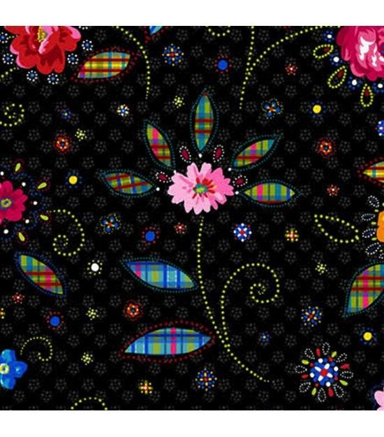 $29.00/m - Confettis by Odile Bailloeul for Free Spirit Fabrics - OB013 - Crazy in Black