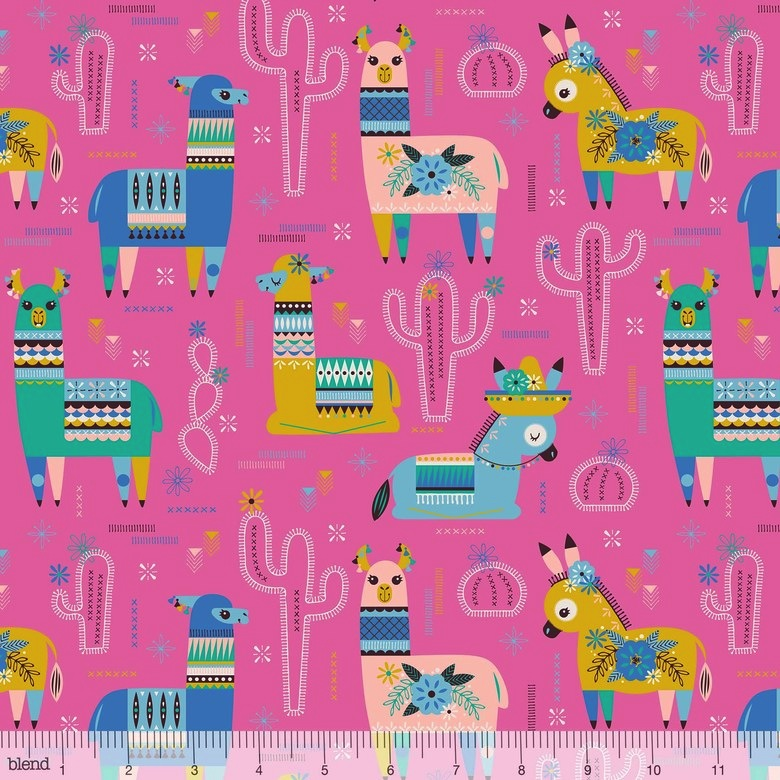 $29.00/m - Fiesta by Stacy Peterson for Blend Fabrics - 125.106.01.2 - Amigos in Pink - Llamas & Donkeys