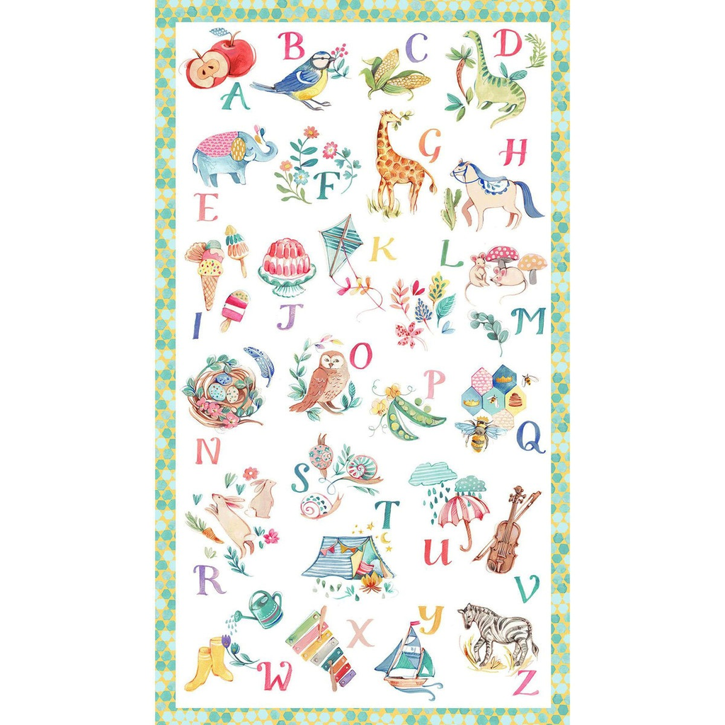 $29.00/m - My Imagination by Clare Therese Gray for Windham Fabrics - 51160P-X - Alphabet Panel in Multi - 60cm x 108cm