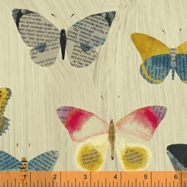 $29.00/m - Wonder by Carrie Bloomston for Windham Fabrics - 50515-1 - Newspaper Butterfly in Cream