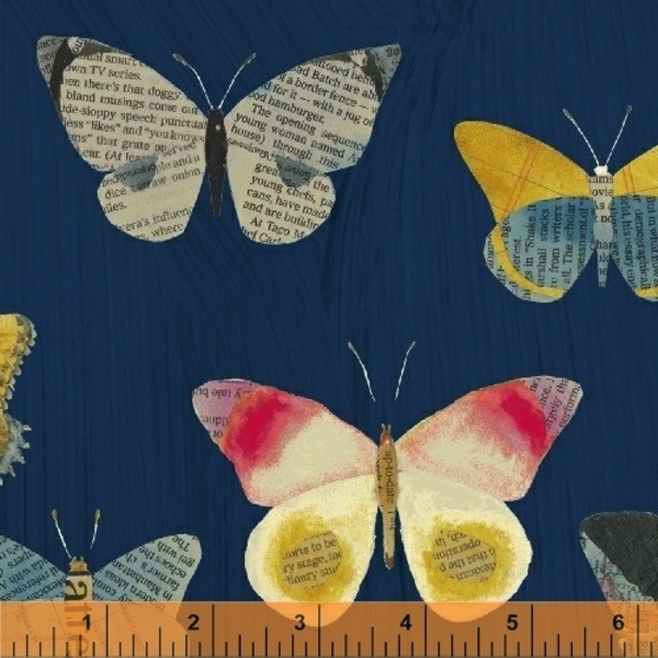 $29.00/m - Wonder by Carrie Bloomston for Windham Fabrics - 50515-2 - Newspaper Butterflies in Navy