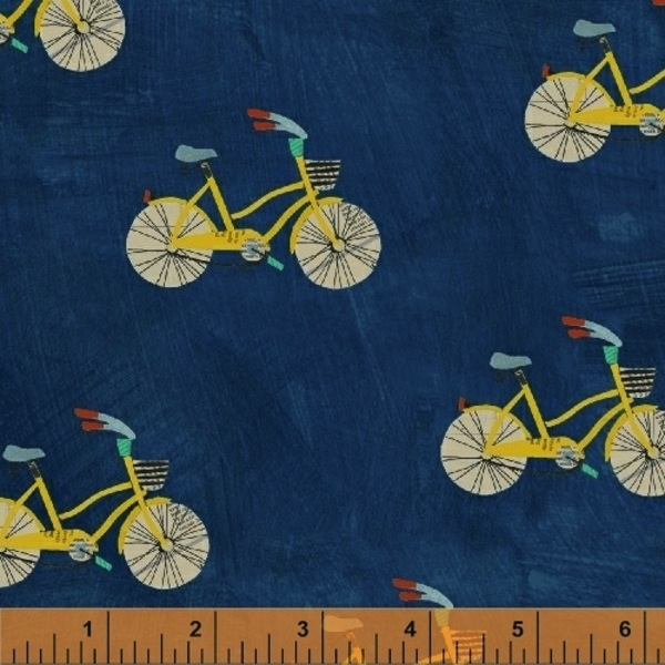 $29.00/m - Wonder by Carrie Bloomston for Windham Fabrics - 50516-2 - Little Bikes in Navy