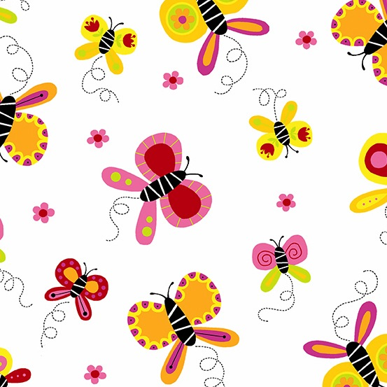 $31.00/m - Buzzin Around by Kim Schaefer for Andover Fabrics - A-9381-O - Butterflies in White