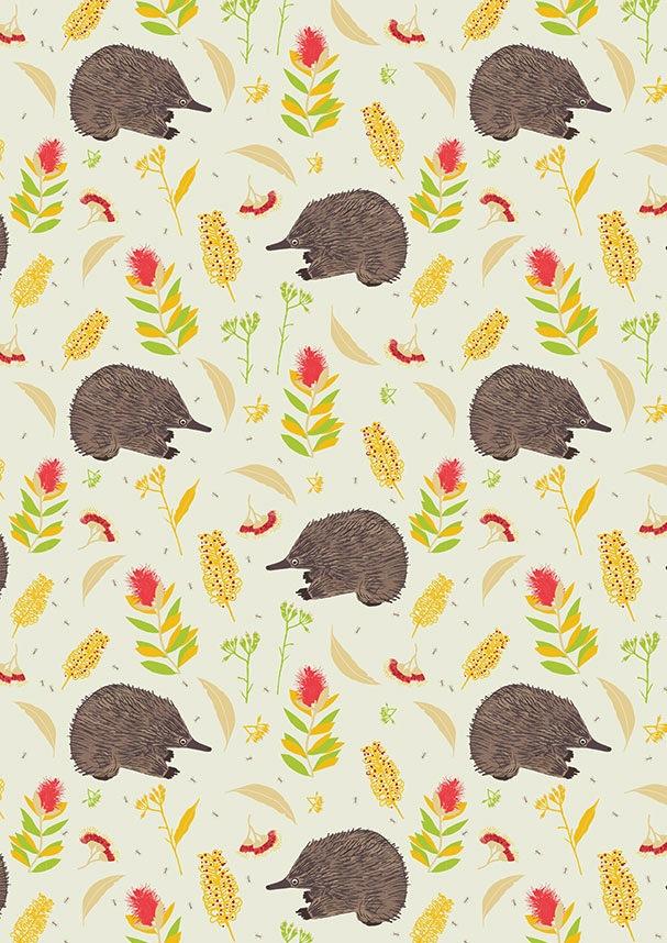 $32.00/m - Monotremes & Marsupials by Sew Darling Fabrics - 8018F - Echidna Shuffle in Cream