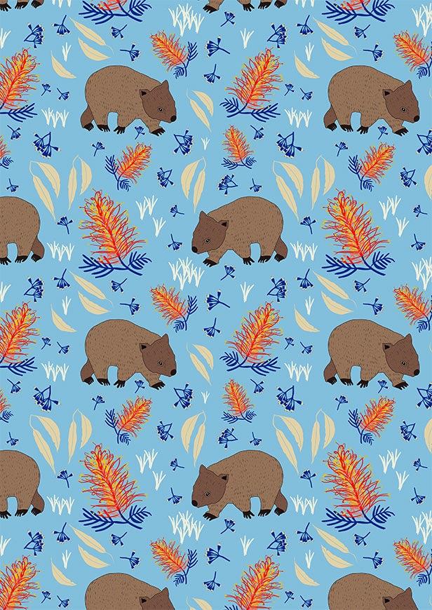 $32.00/m - Monotremes & Marsupials by Sew Darling Fabrics - 8018I - Wombat Waltz in Light Blue