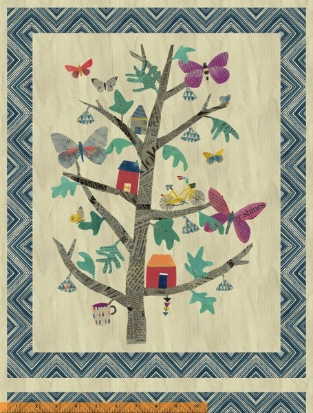 $35.20ea - Wonder by Carrie Bloomston for Windham Fabrics - 50763DP-X - Tree of Wonder Panel in Multi 1.35m
