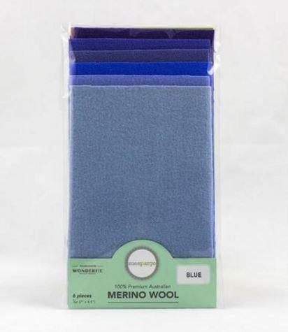 1/64 Merino Felted Wool Pack for Sue Spargo by Wonderfil - 6 pcs (7Ó x 4.5Ó) - Blue
