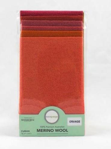 1/64 Merino Felted Wool Pack for Sue Spargo by Wonderfil - 6 pcs (7Ó x 4.5Ó) - Orange