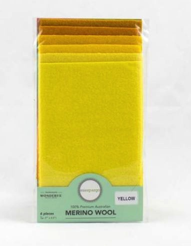 1/64 Merino Felted Wool Pack for Sue Spargo by Wonderfil - 6 pcs (7Ó x 4.5Ó) - Yellow