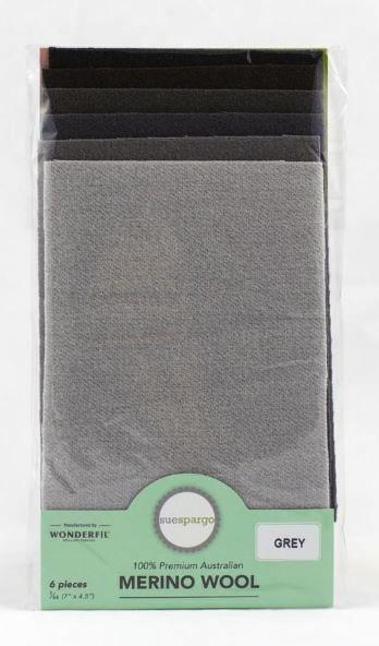 1/64 Merino Felted Wool Pack for Sue Spargo by Wonderfil - 6pcs (7Ó x 4.5Ó) - Grey