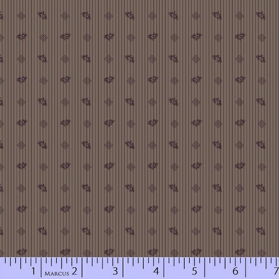 Antique Cotton Calicos by Pam Buda for Marcus Fabrics - 5238-0185 - Old Plum Calicos Stripes in Plum