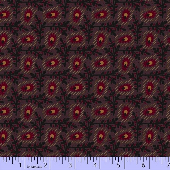 Antique Cotton Calicos by Pam Buda for Marcus Fabrics - 5242-0185 - Old Plum Calico in Floral