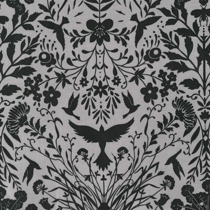 Black & White Collection by Jennifer Sampou for Robert Kaufman Fabrics - AJS-15015-184 Flora inCharcoal