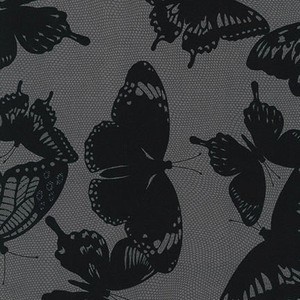 Black & White Collection by Jennifer Sampou for Robert Kaufman Fabrics - AJS-15019-184 Butterfly in Charcoal