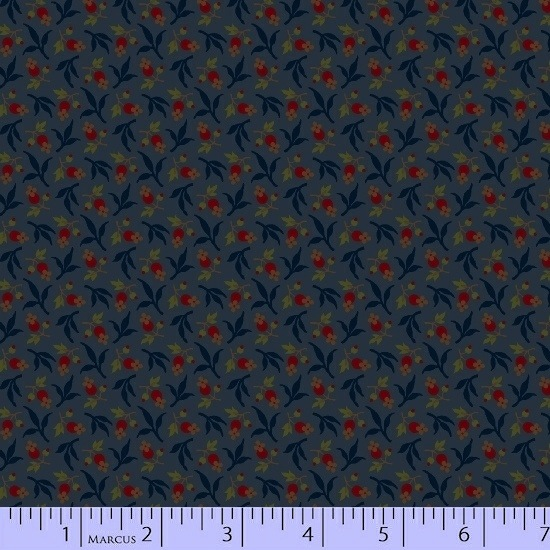 Conestoga Crossing by Pam Buda for Marcus Fabrics - 5552-0150 - Bud Toss in Navy
