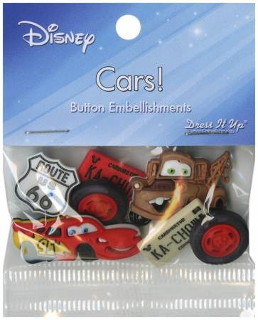 Disney Cars Button Embellishments - 6 per pack