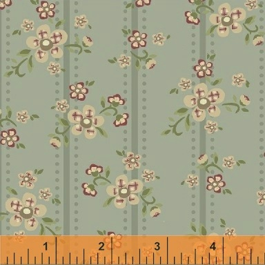 Elm Cottage by L'Atelier Perdu for Windham Fabrics - 42176-1 - Floral Stripe in Blue