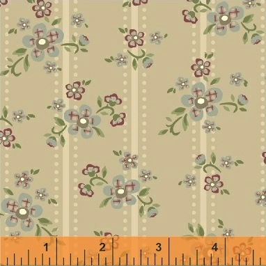 Elm Cottage by L'Atelier Perdu for Windham Fabrics - 42176-2 - Floral Stripe in Tan