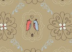 Feather N Stitch by Sarah Watts for Blend 110.101.05.2 Love Birds Khaki