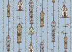 Feather N Stitch by Sarah Watts for Blend 110.101.09.2 Bird House Light Blue