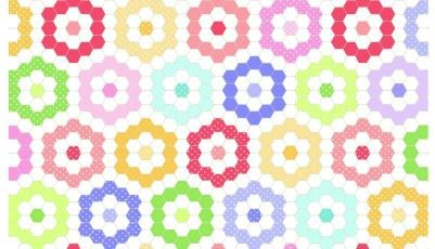 Flower Pot Garden by Sunrise Studio for Lakehouse Fabrics - Hexagons Multi - LH14027M