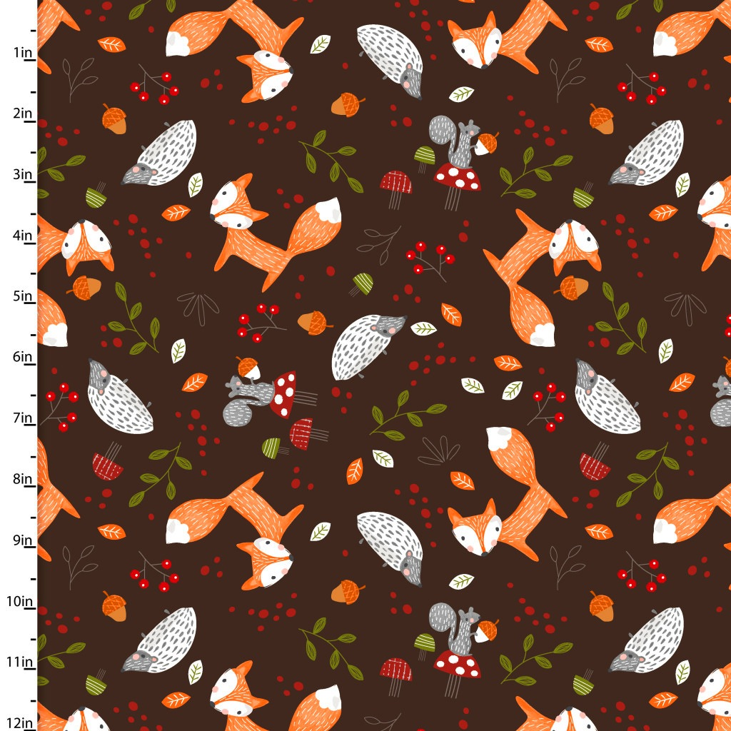 Forest Friends by 3wishes Fabrics - 11732 - Woodland in Brown