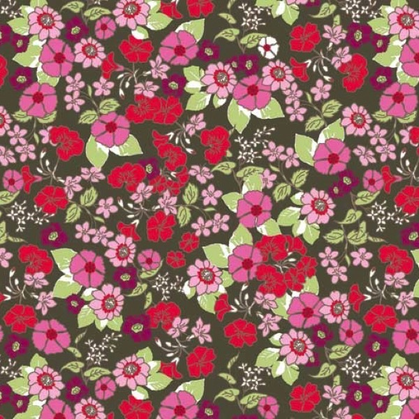 Garden Delights by Gray Sky Studio for In The Beginning Fabrics - 1GSE-1 - Mixed Wildflowers in Black/Red