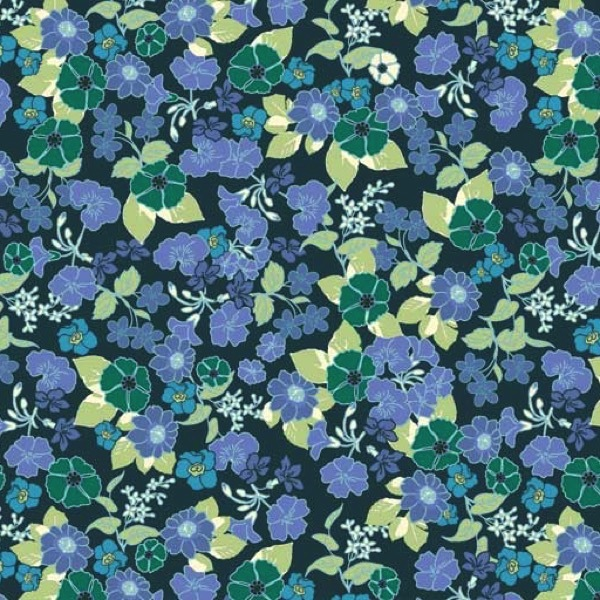 Garden Delights by Gray Sky Studio for In The Beginning Fabrics - 1GSE-2 - Mixed Wildflowers in Blue/Green