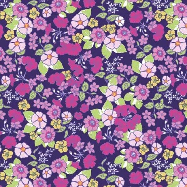 Garden Delights by Gray Sky Studio for In The Beginning Fabrics - 1GSE-3 - Mixed Wildflowers in Navy/Magenta