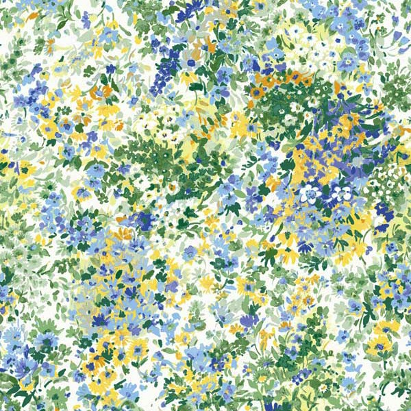 Garden Delights by Gray Sky Studio for In The Beginning Fabrics - 3GSE-2 - Impressionist Floral in Blue/Yellow