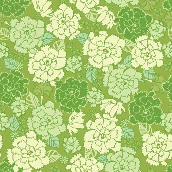 Garden Delights by Gray Sky Studio for In The Beginning Fabrics - 4GSE-3 - Dianthus in Sage Green