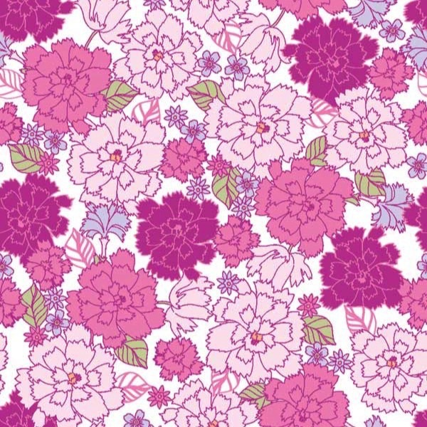 Garden Delights by Gray Sky Studio for In The Beginning Fabrics - 4GSE-7 - Dianthus in Pink/Purple
