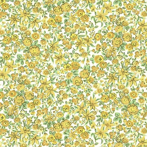 Garden Delights by Gray Sky Studio for In The Beginning Fabrics - 5GSE-2 - Lilies & Cosmos in Sage/Yellow