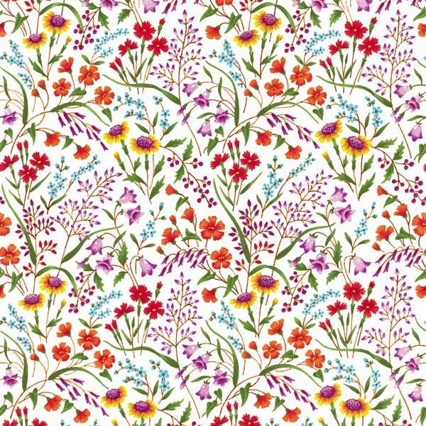 Garden Delights by Gray Sky Studio for In The Beginning Fabrics - 8GSE-1 - Redoute Wildflowers in Bright/White