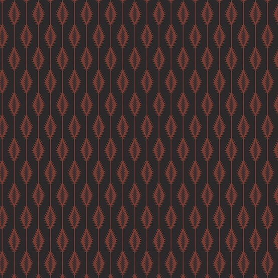 Lampblack 2017 by Kathy Hall for Andover Fabrics - A8475K - Orange Wheat Stalk in Black