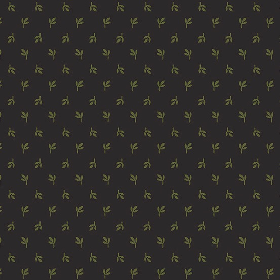 Lampblack 2017 by Kathy Hall for Andover Fabrics - A8477K1 - Green Sprigs in Black