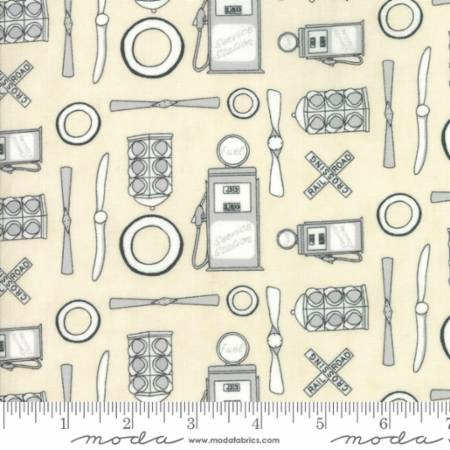 Mighty Machines by Lydia Nelson for Moda Fabrics - 49020-21 - Service Station in Tonal Creamy/Natural