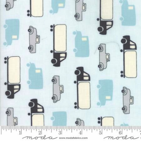 Mighty Machines by Lydia Nelson for Moda Fabrics - 49021-12 - Simple Trucks in Sky High/Light Blue