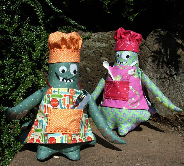 Monster Chef Toy Pattern by Claire Gee of Matching Pegs - Approx 10 1/2ins tall & 7ins wide (26.7cm x 17.8cm)