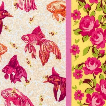Neptune & the Mermaid by Tokyo Milk for Free Spirit Fabric - PWTM003.8 - Age of Aquarius in Pink