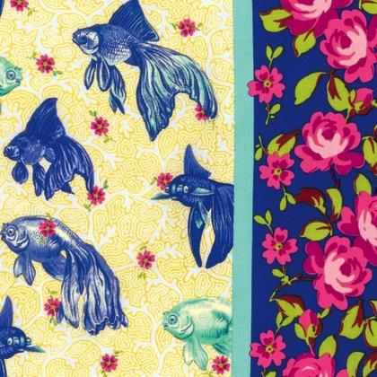 Neptune & the Mermaid by Tokyo Milk for Free Spirit Fabrics - PWTM003.8 - Age of Aquarius in Blue