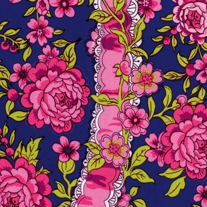 Neptune & the Mermaid by Tokyo Milk for Free Spirit Fabrics - PWTM004.8 - Anthemoessa in Navy