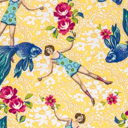 Neptune & the Mermaid by Tokyo Milk for Free Spirit Fabrics - PWTM005.8 - What Would Poseidon Say? in Yellow