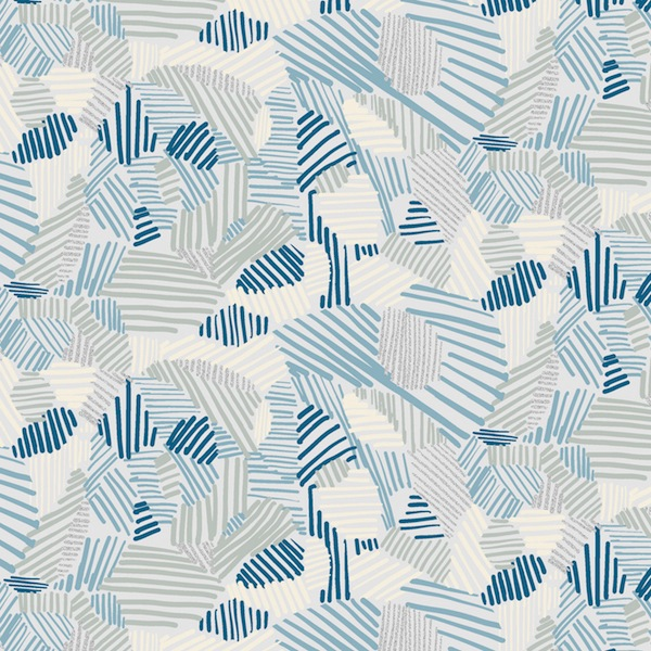 Night Hike by Heather Givens for Windham Fabrics - 50321M-12 - Lines in Lake/Metallic Blue