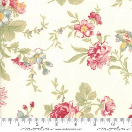 Poetry Prints by 3 Sisters for Moda Fabrics - 44130-11 - Large Floral Blooms in Porcelain/Natural