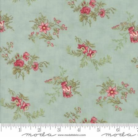 Poetry Prints by 3 Sisters for Moda Fabrics - 44132-14 - Delicate Floral Sprays in Mist/Aqua